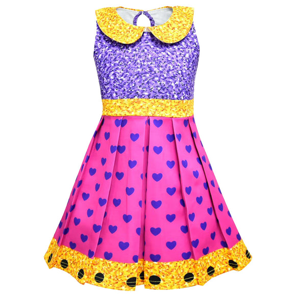Halloween L.O.L Surprise Doll Girls Cosplay Cartoon Printed Heart Dress