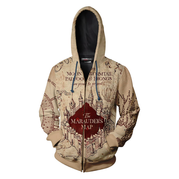 Unisex Harry Potter Hoodies The Marauder's Map Printed Zip Up Jacket Sweatshirt