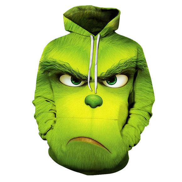 Teen Hoodie How the Grinch Stole Christmas Grinch Green Pullover Sweatshirt Adult