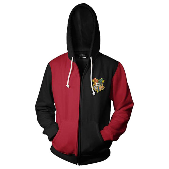 Unisex Gryffindor Hoodies Harry Potter Zip Up 3D Print Jacket Sweatshirt
