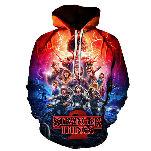 Unisex TV Series Hoodies Stranger Things Season 3 Pullover 3D Print Jacket Sweatshirt