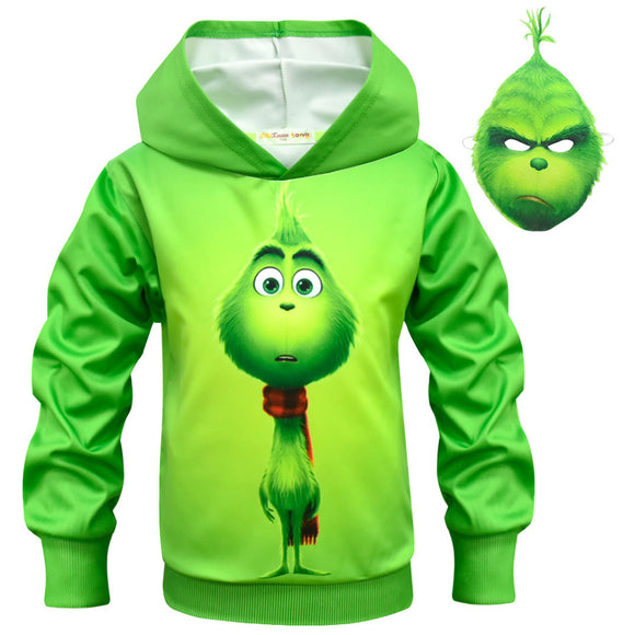Kids The Grinch Stole Christmas Hoodie Full Print Sublimation 3D Digital Hoodies