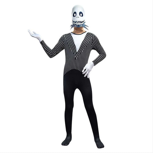 Kids Boys Nightmare Before Christmas Jack Skellington Cosplay Costume Carnival Halloween Costume Jumpsuit