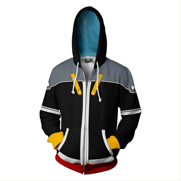 Unisex Sora Hoodies Kingdom Hearts Zip Up 3D Print Jacket Sweatshirt Style C