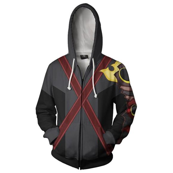 Unisex Terra Hoodies Kingdom Hearts Zip Up 3D Print Jacket Sweatshirt
