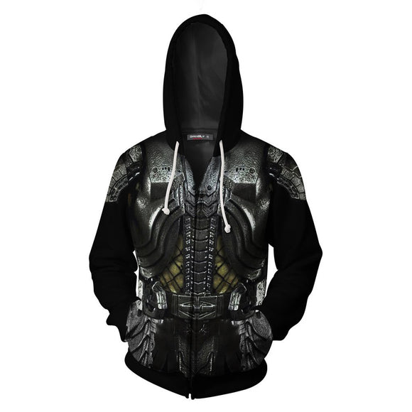 Adult Predator Hoodie Halloween Cosplay Costume Hooded Sweatshirts