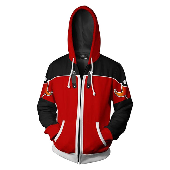 Unisex Sora Hoodies Kingdom Hearts Zip Up 3D Print Jacket Sweatshirt Red