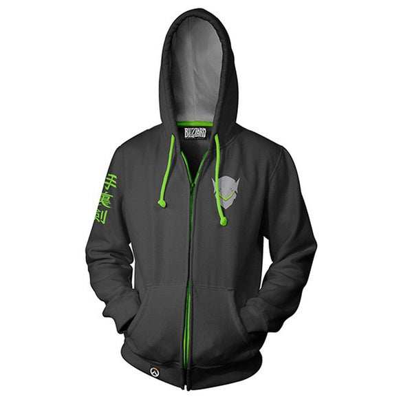 Unisex Genji Hoodies Overwatch Zip Up 3D Print Jacket Sweatshirt