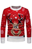 Men Christmas Elk Print Sweatshirt Tops Round Neck Long Sleeve Pullover