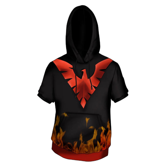X-Men Dark Phoenix Costume Superhero Halloween Unisex Cosplay Hooded T-shirt