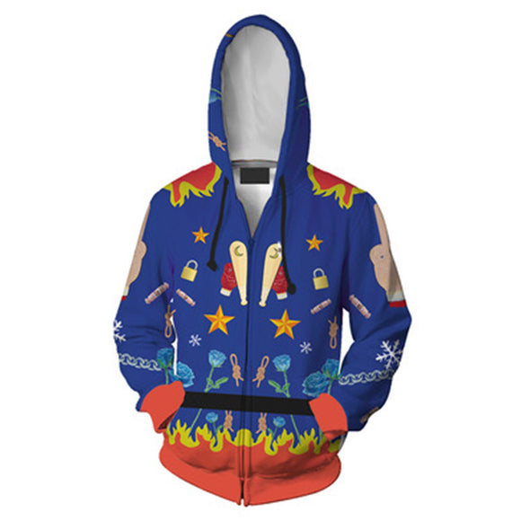 Unisex Harley Quinn Hoodies Birds of Prey Zip Up 3D Print Jacket Sweatshirt