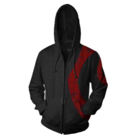 Unisex God of War Warrior Kratos Adult Zip up Hoodie Sweatshirt Cosplay Costume