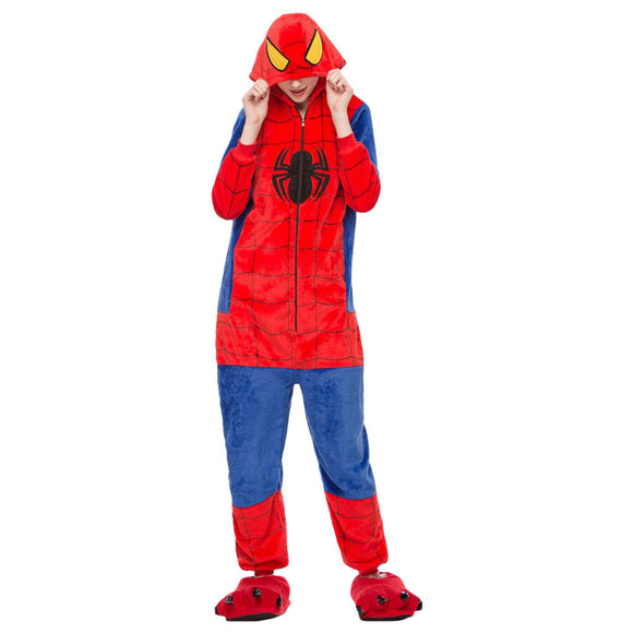 Adult Onesie Anime Costume Spiderman Winter Warm Flannel Hooded Pajamas