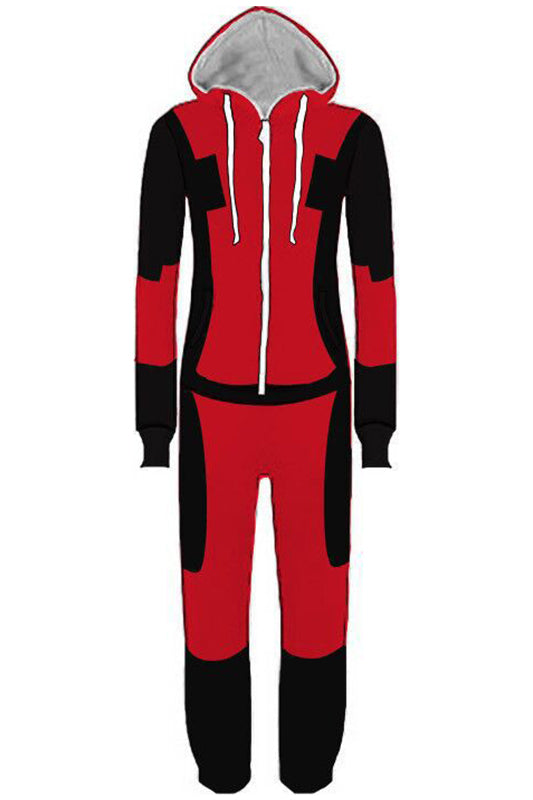 Deadpool Adult Union Suit Costume Pajamas Onesie With Hood