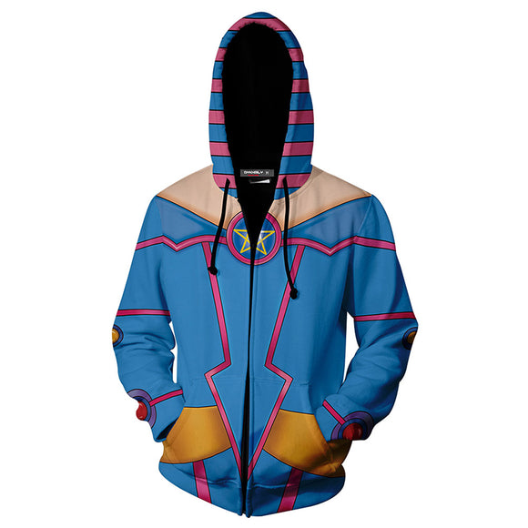Unisex Dark Magician Girl Hoodies Yu-Gi-Oh! Zip Up 3D Print Jacket Sweatshirt