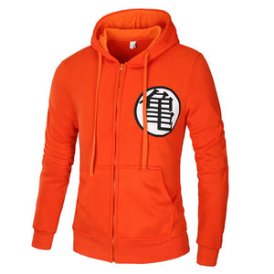 Unisex Dragon Ball Z Goku Kame Symbol Long Sleeves Hoodie Adult Zip Up Hoody
