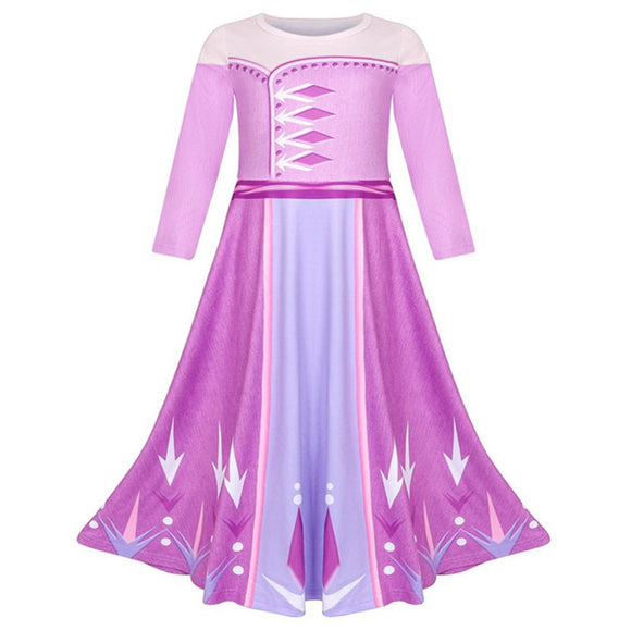Frozen 2 Elsa Costume Girls Dress Child Up Lace Party Birthday Frock Elsa Kids Disguise Cloth