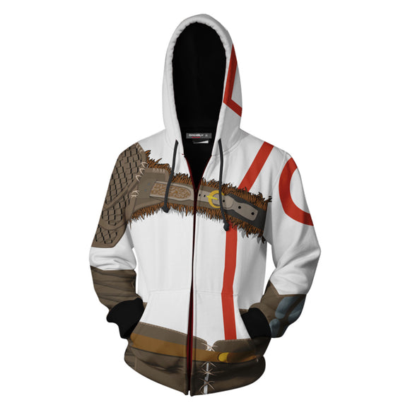 Unisex Kratos Hoodies God of War Zip Up 3D Print Jacket Sweatshirt
