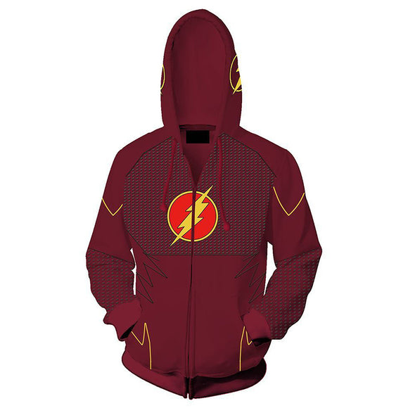 Unisex The Flash Hoodies Lightning Logo Printed Zip Up 3D Print Jacket Sweatshirt