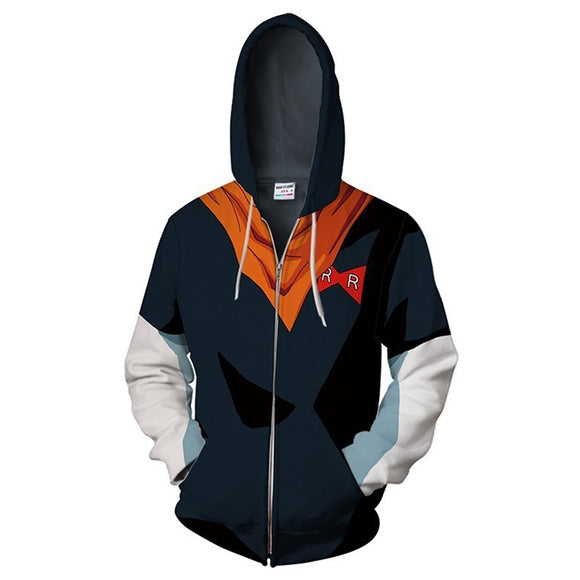 Unisex Android 17 Hoodies Dragon Ball Zip Up 3D Print Jacket Sweatshirt