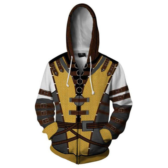 Unisex Scorpion Hoodies Mortal Kombat X Zip Up 3D Print Jacket Sweatshirt
