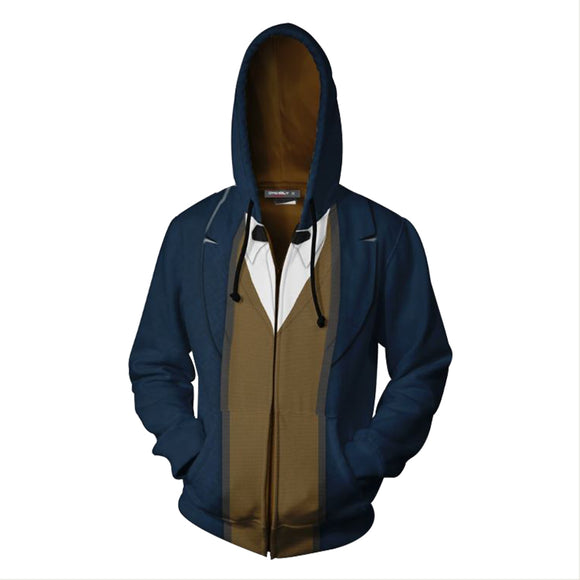 Unisex Newt Scamander Hoodies Fantastic Beasts and Where to Find Them Zip Up 3D Print Jacket Sweatshirt