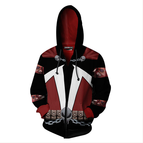 Unisex Hoodies Movie Spawn Zip Up 3D Print Jacket Sweatshirt