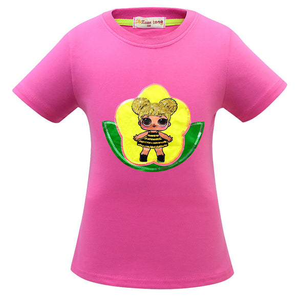 L.O.L. Surprise Doll Girls' Sequins Printed Short Sleeve T-Shirt