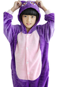 Kids Christmas Pajamas Purple Cat Animal Costumes Onesie