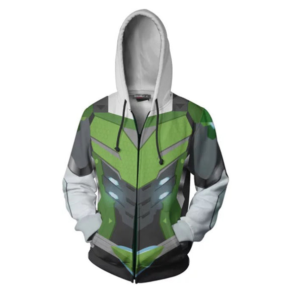 Unisex Shimada Genji Skin Hoodies Game Overwatch Zip Up 3D Print Jacket Sweatshirt Green
