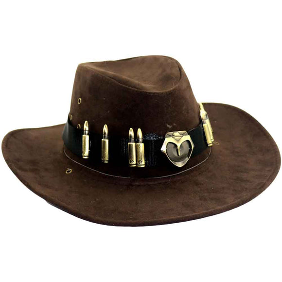 Overwatch McCree Hats Brown Cosplay Badge Cowboy Hat Caps