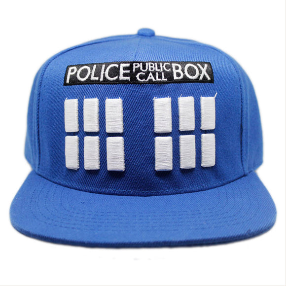 Doctor Who Tardis Blue Embroidery Adjustable Snapback Hat