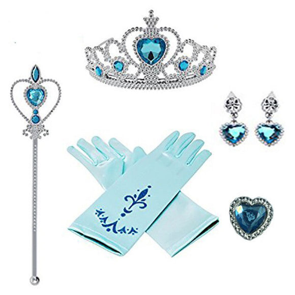 Frozen 2 Princess Elsa Dress Up Cosplay Party Accessories with Crown Wand Gloves Earrings