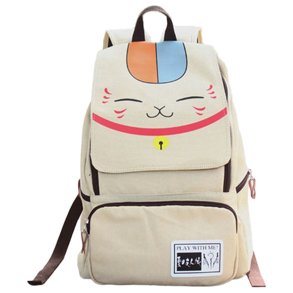 Anime Natsume Yuujinchou Backpack Anime School Bag Classic Schoolbag Beige