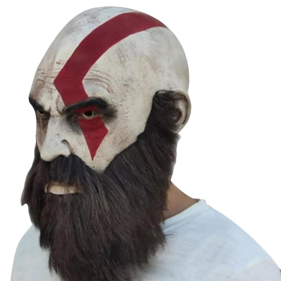 God of War Mask with Beard Cosplay Kratos Horror Latex Masks Helmet