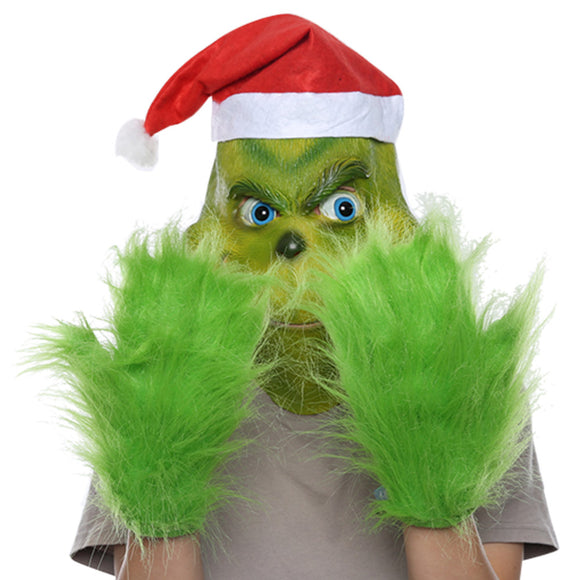 How the Grinch Stole Christmas Mask and Gloves with Red Hat Cosplay Funny Carnival Party Cosplay Props