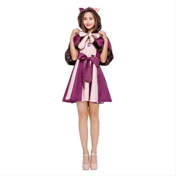 Women Alice In Wonderland Costume Lolita Dress Cheshire Cat Cosplay Fantasia Carnival Halloween Costumes