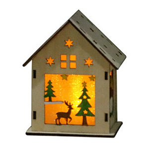 Wooden Snowed House Christmas Ornament Home Decoration with Warm LED Lights