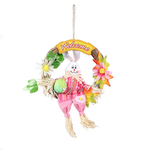 Rabbit Front Door Wreath Decoration Welcome Hanging Outdoor Decor
