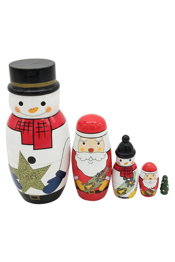 Lovely Mini White Snowman Santa Christmas Tree Russian Dolls Decoration