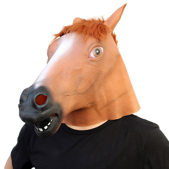 Creepy Horse Head Mask Full Face Latex Animal Party Mask Halloween Costume Props