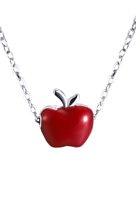 Women Silver Plated Clavicle Necklace Apple Pendant Jewelry