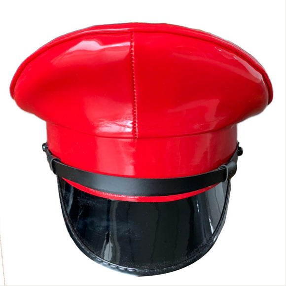 Thailand Military Officer Cap PU Leather Police Hat Performance Stage Show Night Bar Hat Red