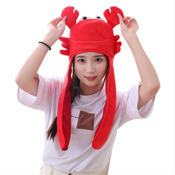 Novelty Funny Crab Hat Headgear Head Cover Animal Plush Cap Halloween Costume Party Photo Props