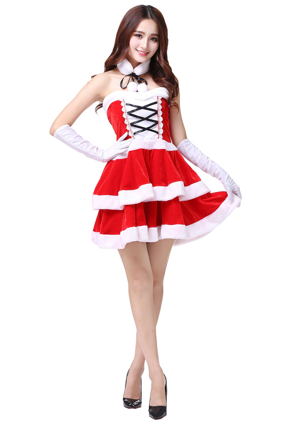 Women Christmas Mrs. Santa Cosplay Costume