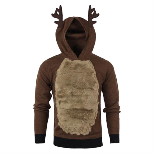 Men Autumn Winter Cosplay Xmas Hoodie Reindeer Feather Hooded