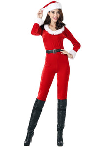 Women's Santa Clause Costume Jumpsuit Christmas Fantasy Holiday Costume