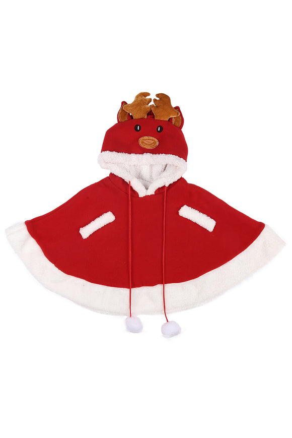 Kids Christmas Hoodie Cape Elk Pattern Costume Christmas Cloak Dress