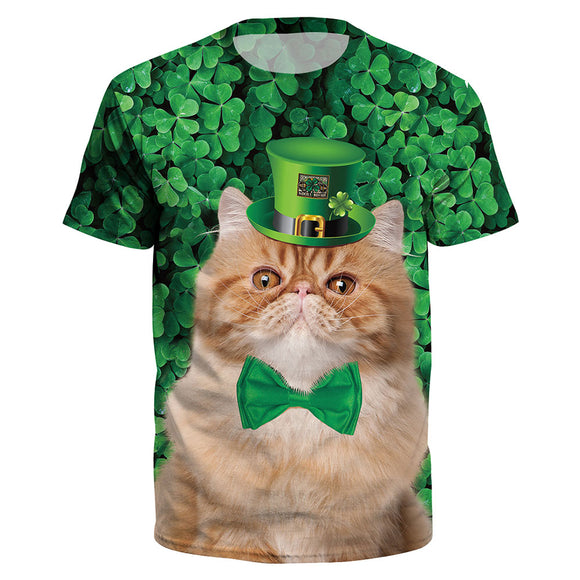 St. Patrick's Day Clover Printed Short Sleeved O-Neck T-Shirt Tops