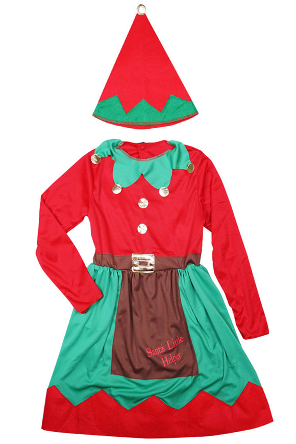 Kids Christmas Elf Costumes Festive Party Fancy Dress up Outfit